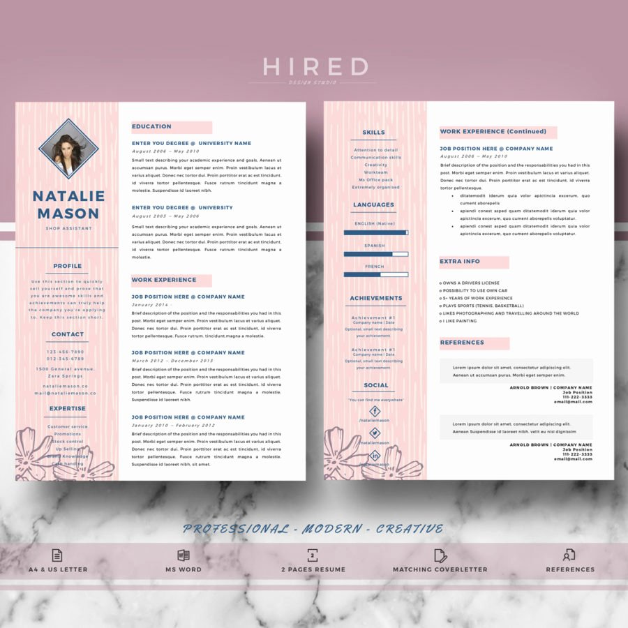 "Creative Resume Template for Ms Word ""natalie"" Hired"