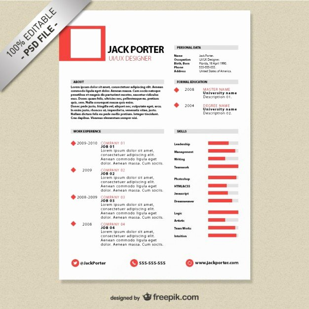 Creative Resume Template Free Psd File