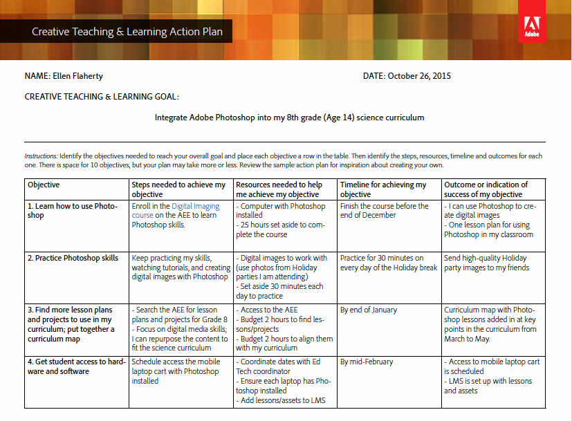 Creative Teaching & Learning Action Plan Template and