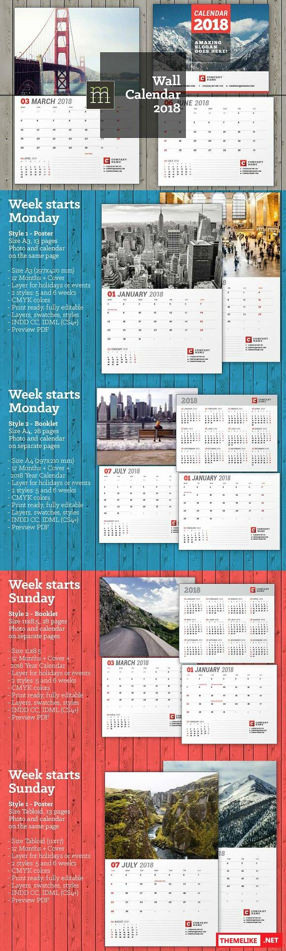 Creativemarket Wall Calendar 2018 Wc26 All