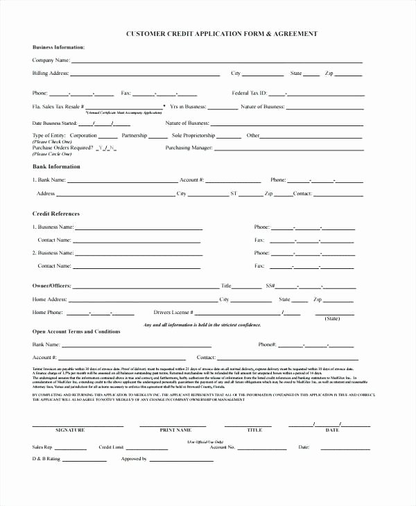 Credit Application form Template Customer – Ecosolidario