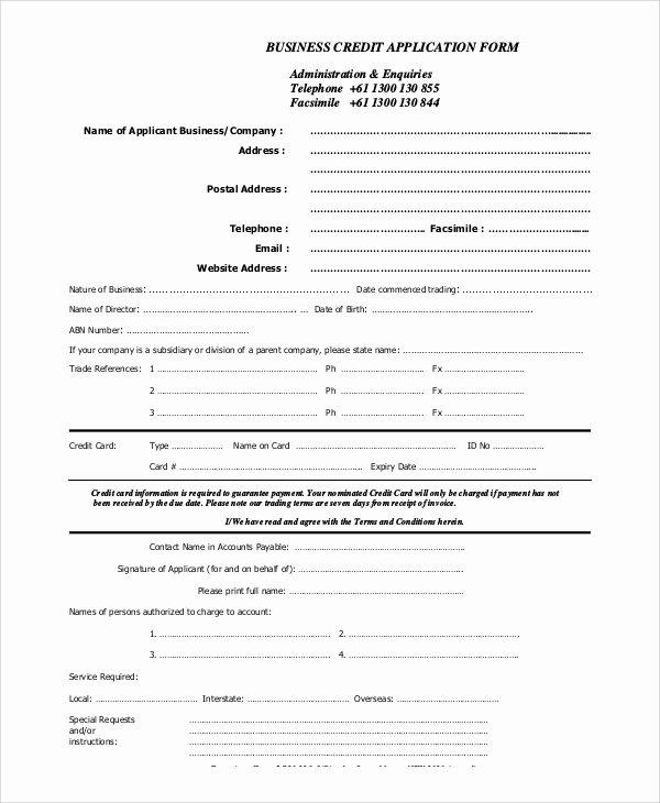 Credit Application Sample