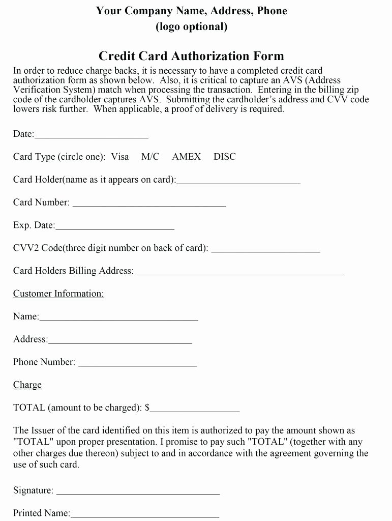 Credit Card Authorization form Download Cv Letter
