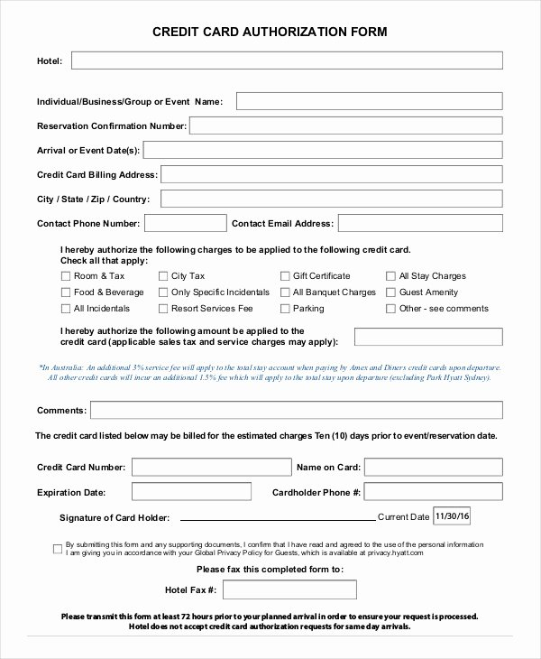 Credit Card Authorization form Template 10 Free Sample