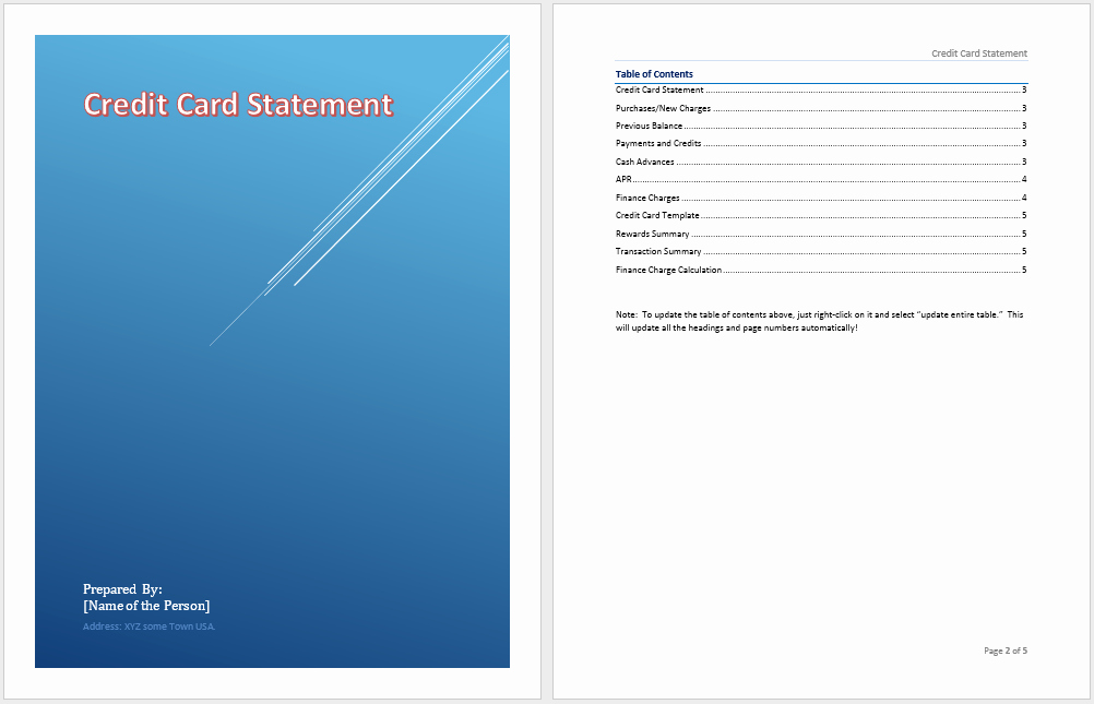 Credit Card Statement Template Microsoft Word Templates