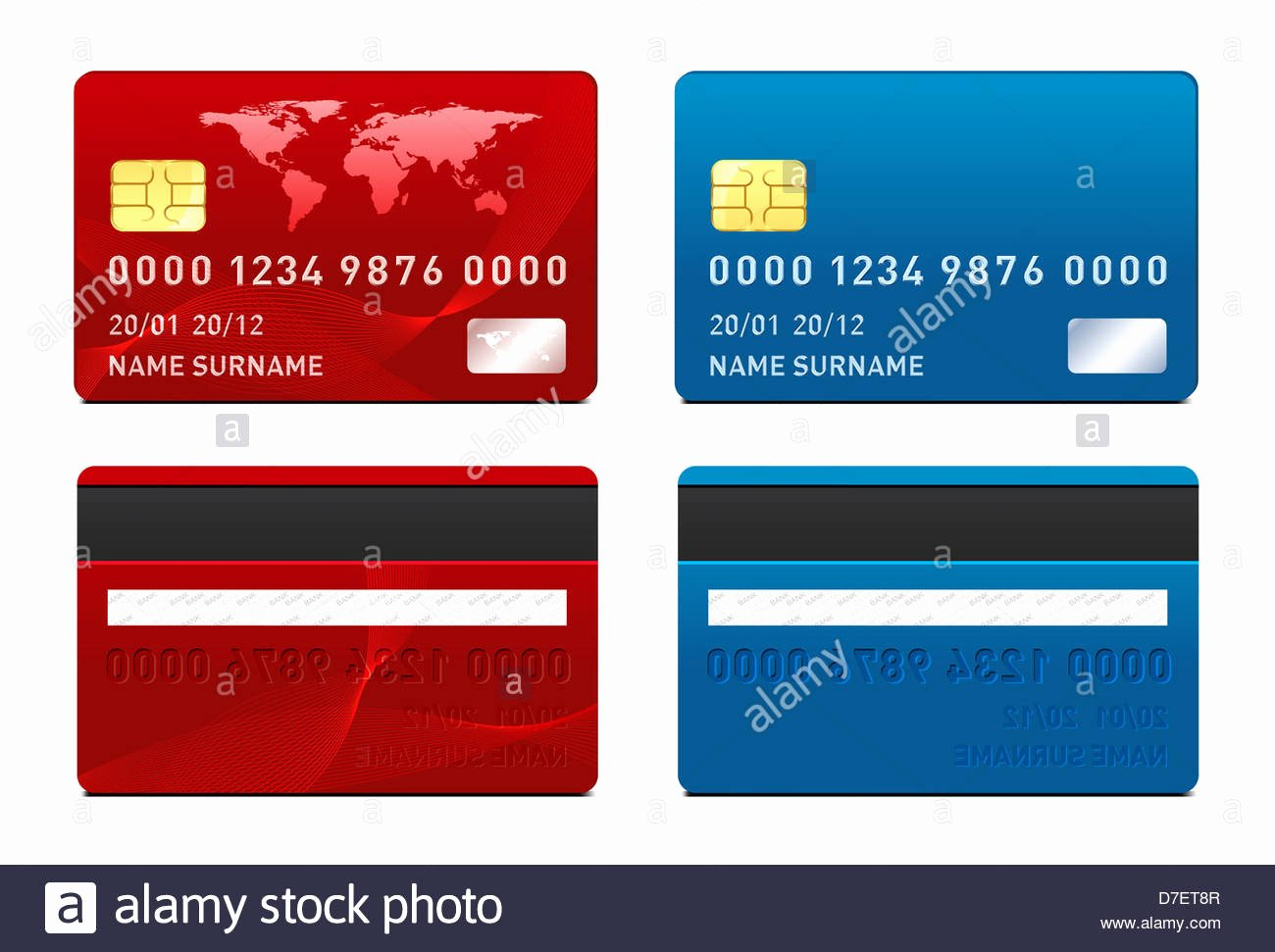 Credit Card Template Front and Back Side Stock