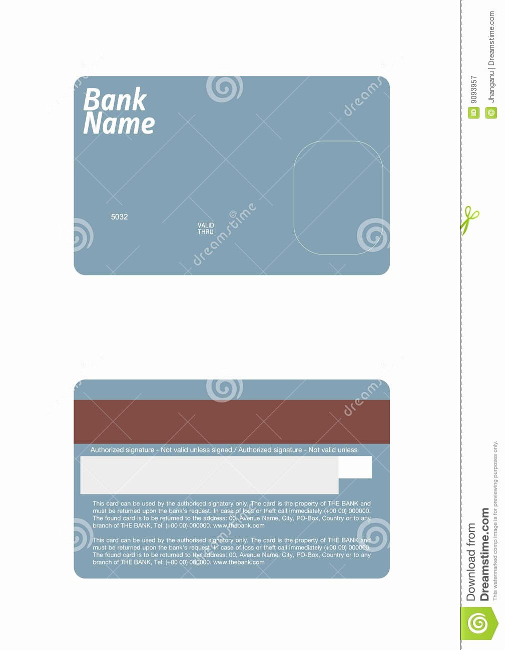 Credit Card Template Stock Vector Illustration Of Debit