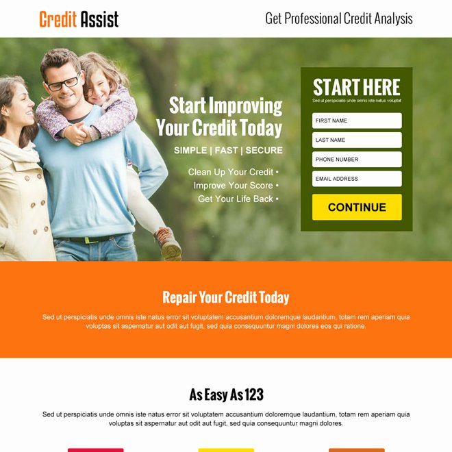Credit Repair Landing Page Design Template to Boost Your