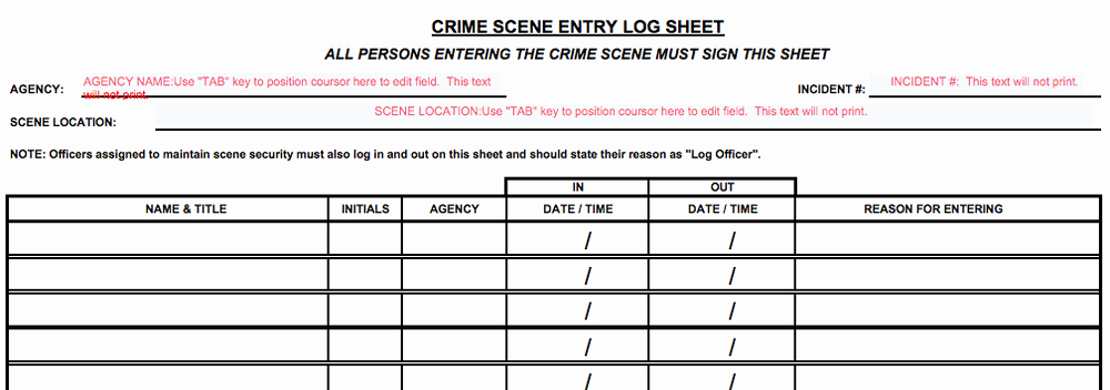 Crime Scene Investigations Diagrams and Articles for