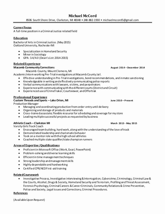 Criminal Justice Resume Cover Letter – Latter Example Template