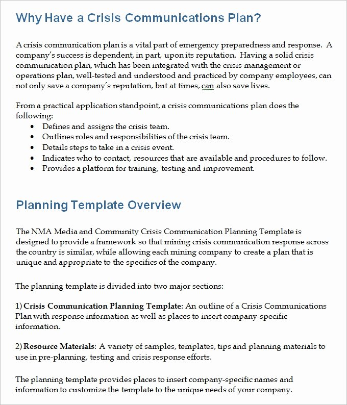 Crisis Munications Plan Template Invitation Template