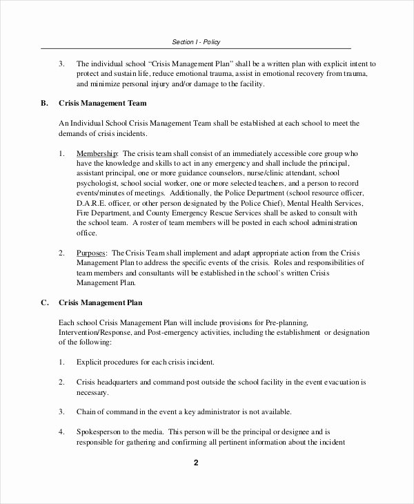 Crisis Plan Template 9 Free Word Pdf Documents