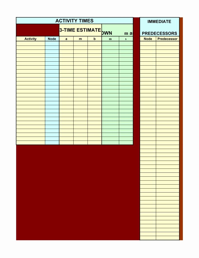 Critical Path Analysis Template Pdf Google Sheet Excel