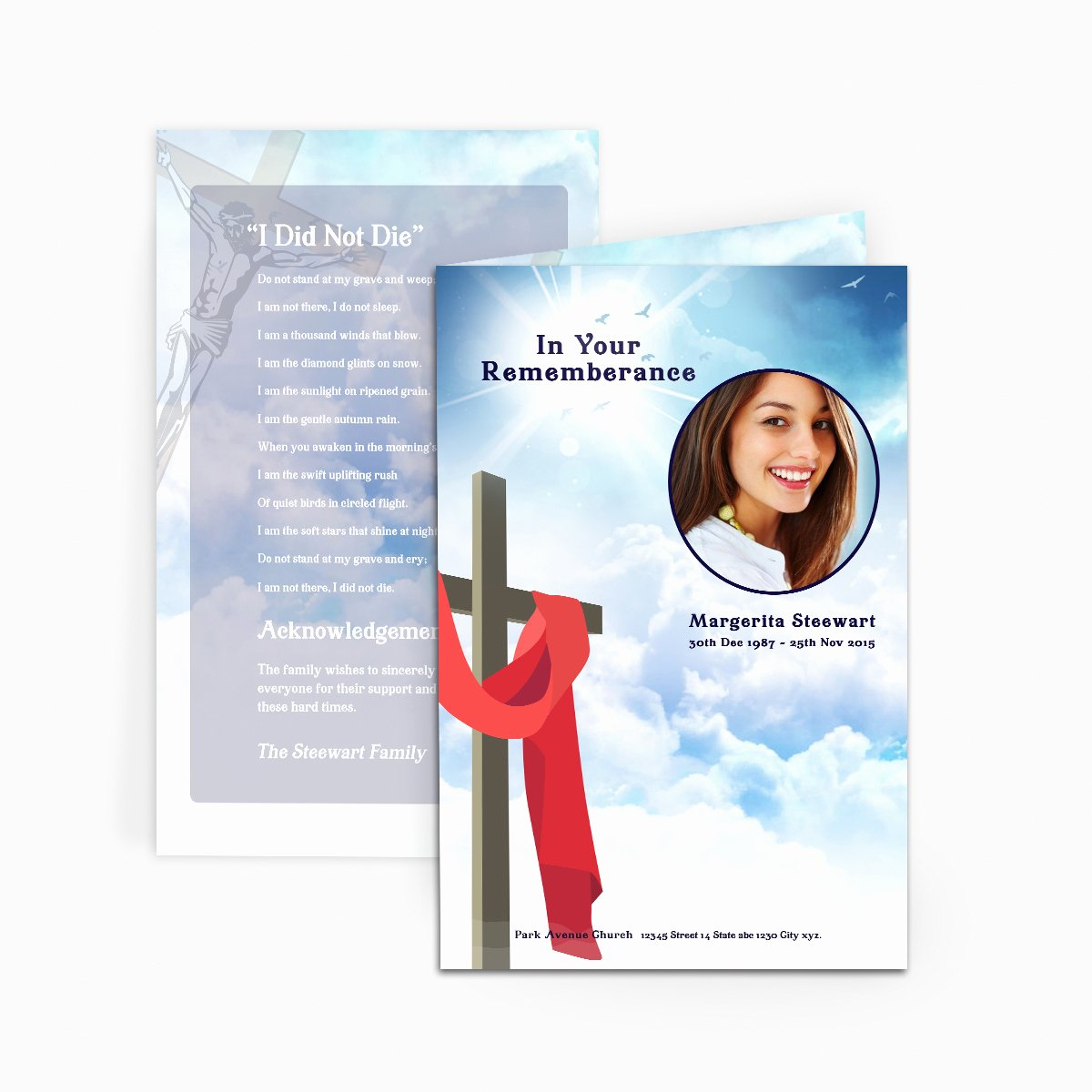 Cross In Clouds Funeral Card Funeral Pamphlets
