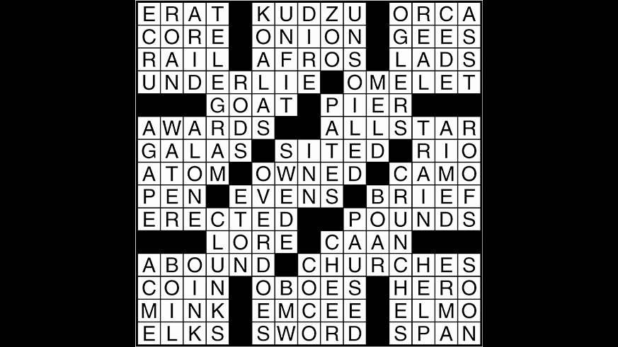 Crossword Puzzle Answers August 9 2017