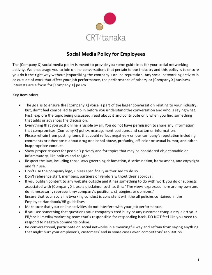 Crt Tanaka social Media Policy Template for Employees