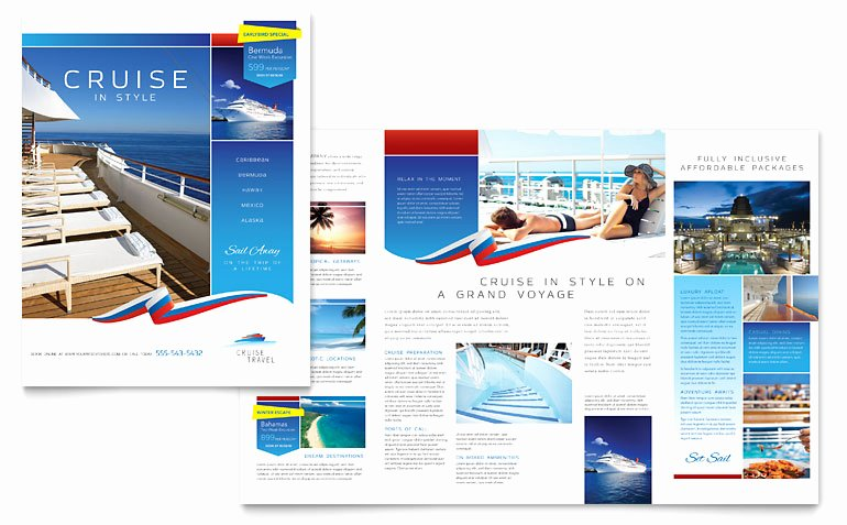 Cruise Travel Brochure Template Word & Publisher