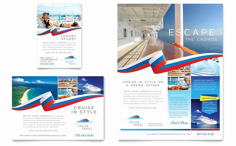 Cruise Travel Flyer & Ad Template Word & Publisher