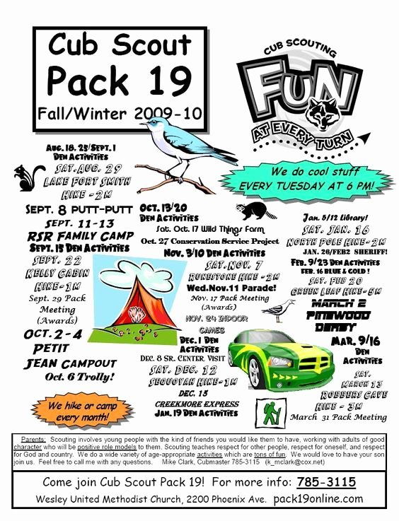 Cub Scout Pack Meeting Flyer Boy Scouts