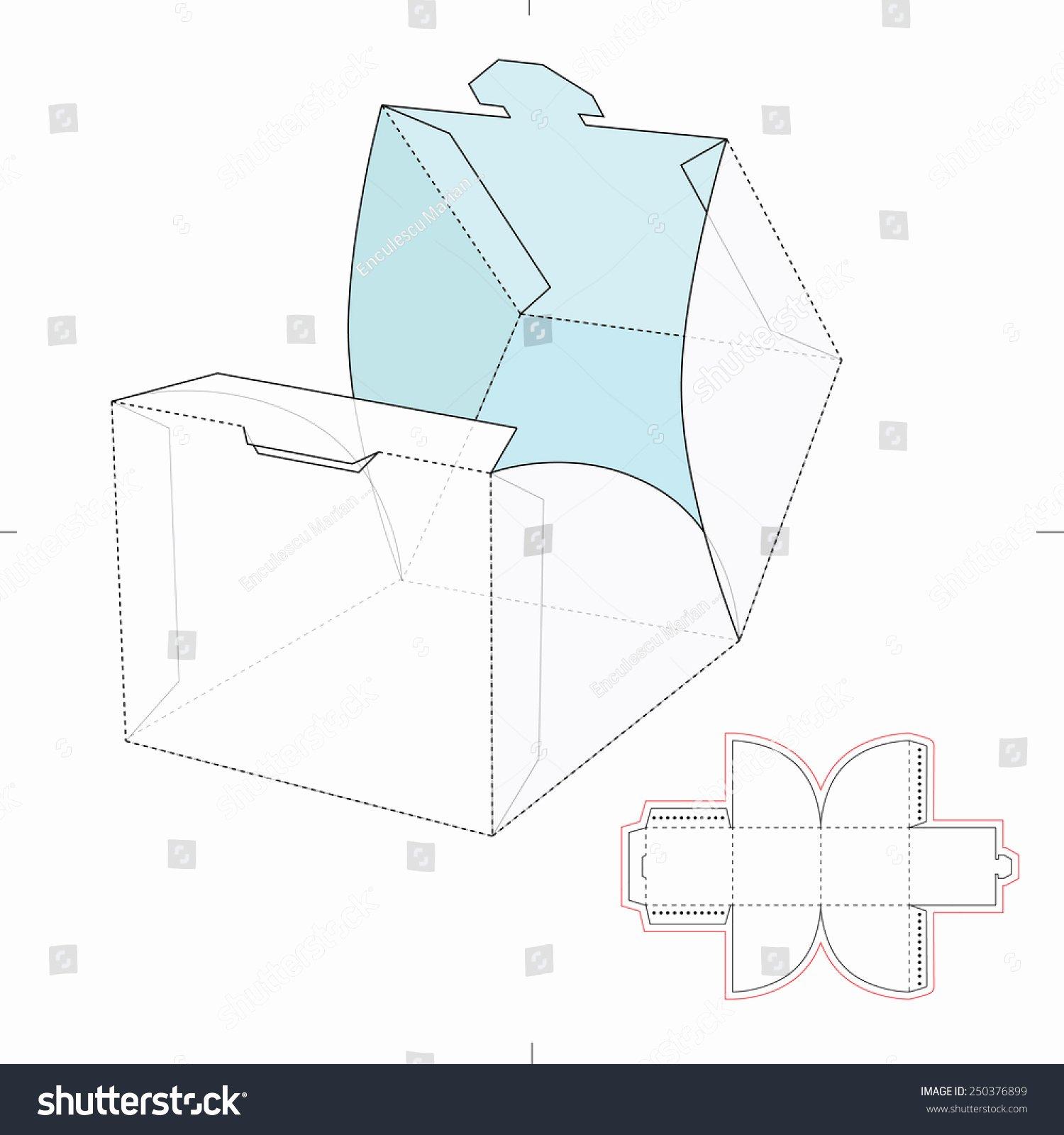 Cube Wrap Box Die Cut Template Stock Vector