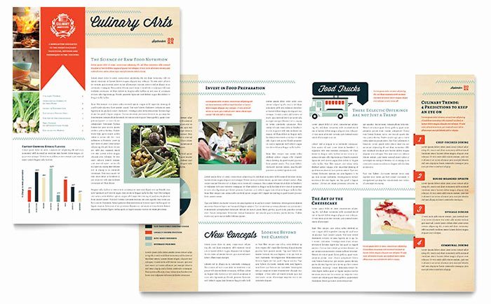 Culinary School Newsletter Template Word & Publisher
