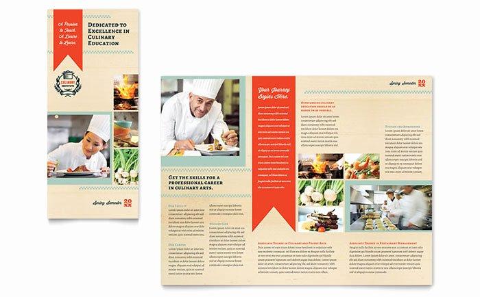 Culinary School Tri Fold Brochure Template Word & Publisher