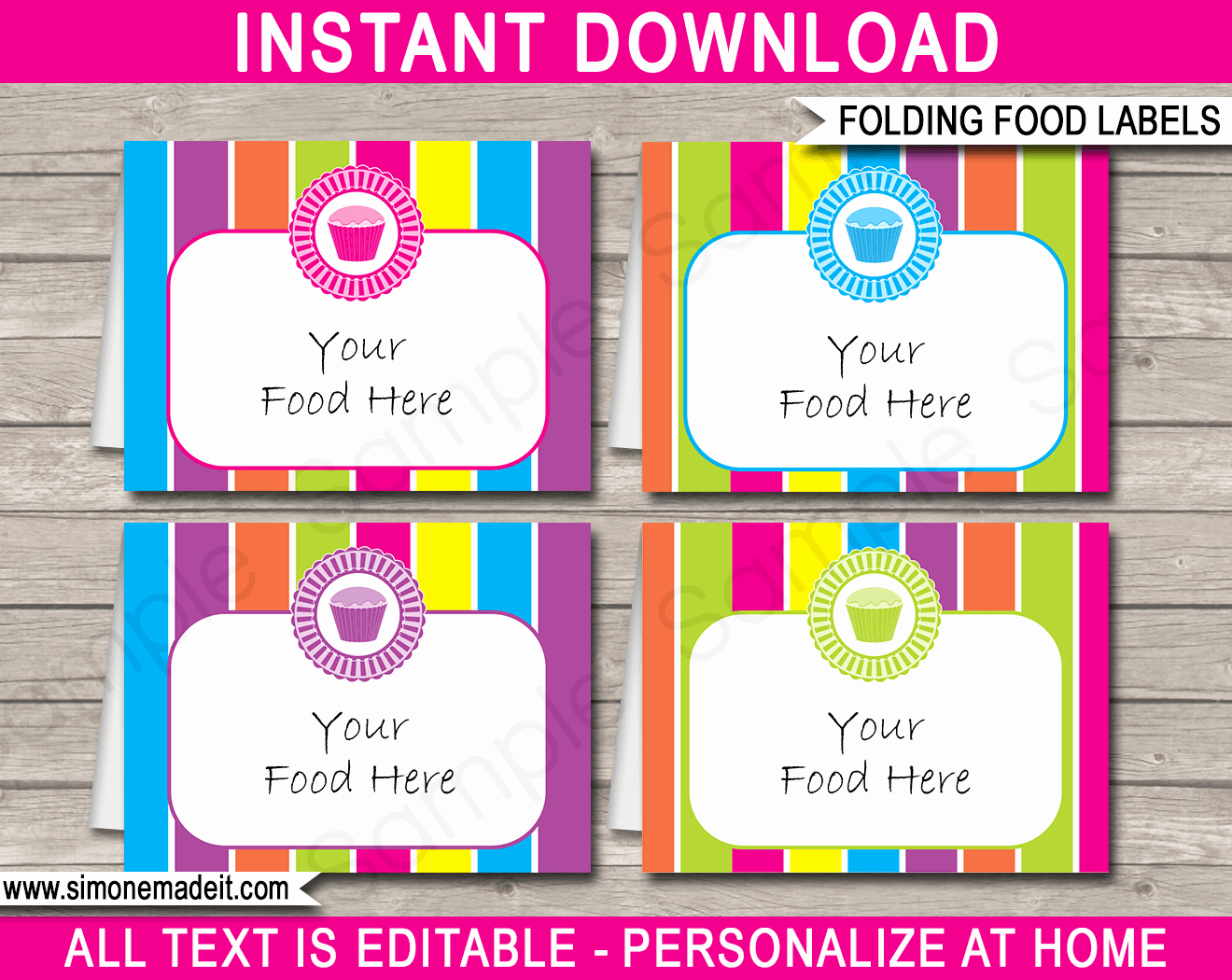 Cupcake Party Food Labels Place Cards