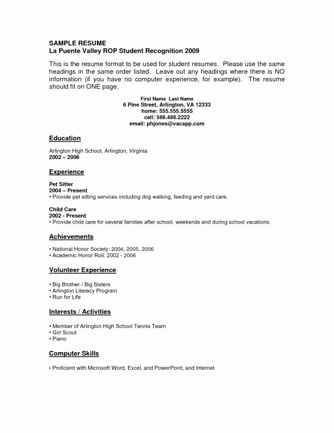 Current College Student Resume