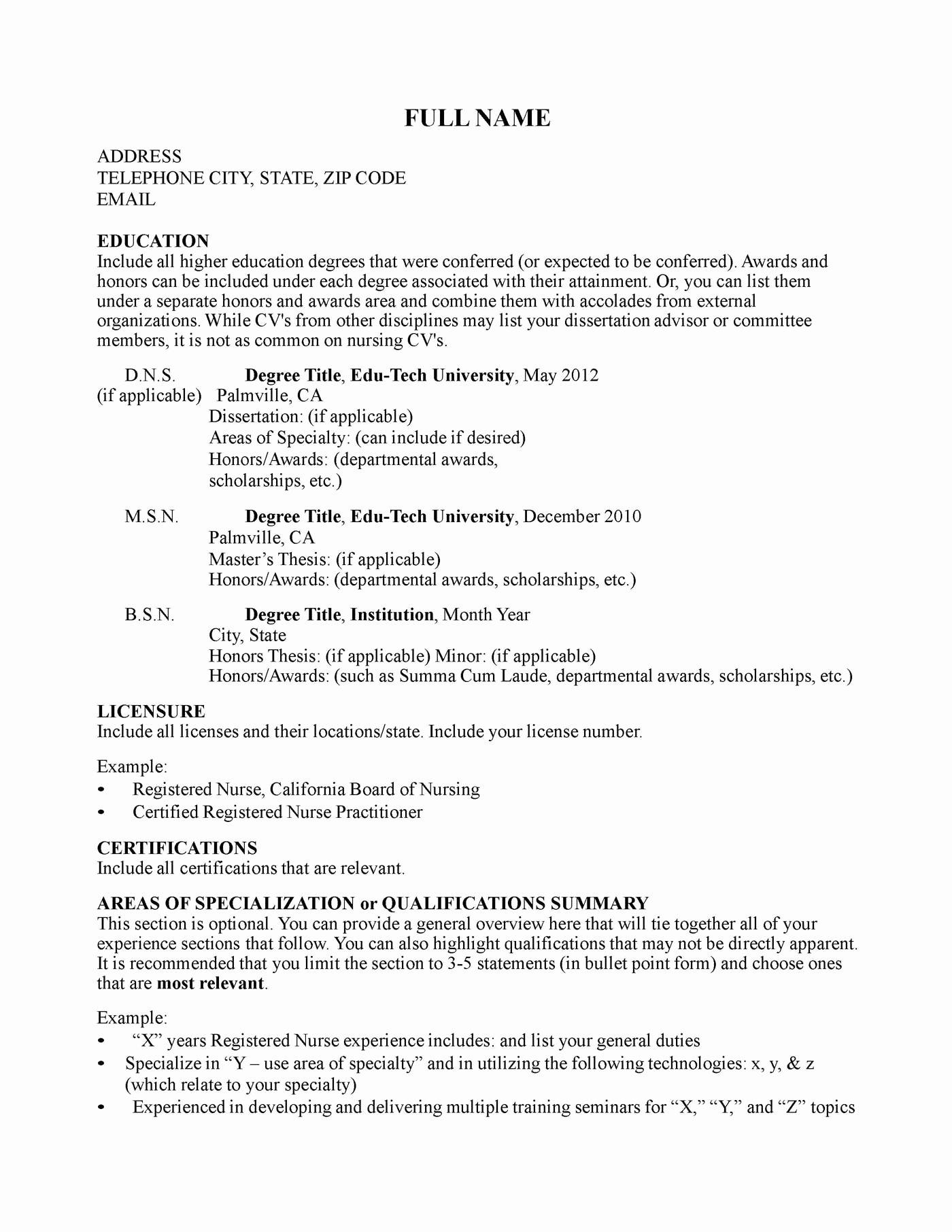 Curriculum Vitae Curriculum Vitae Sample Nurse Educator
