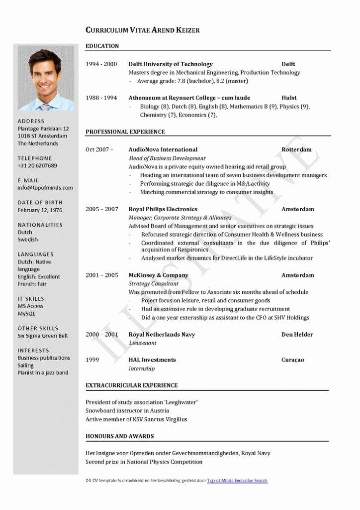 Curriculum Vitae Resume Cv Example Template