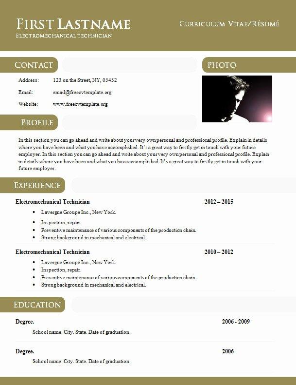Curriculum Vitae Résumé Template In Doc format 897 – 903