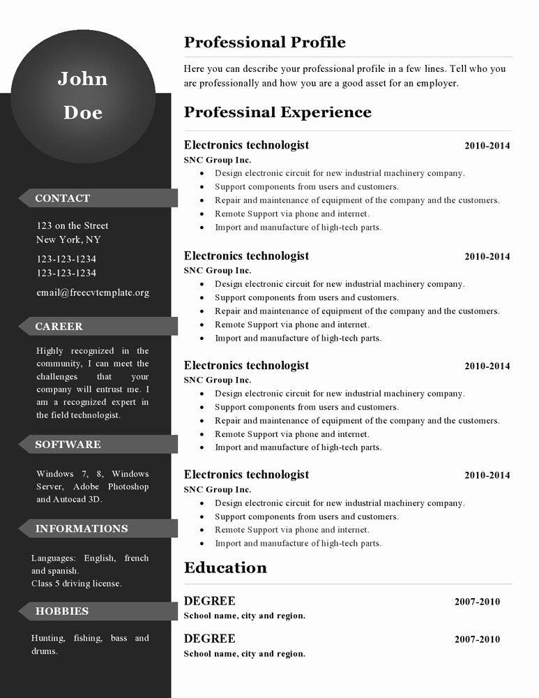 Curriculum Vitae Resume Templates 386 to 391 – Free Cv