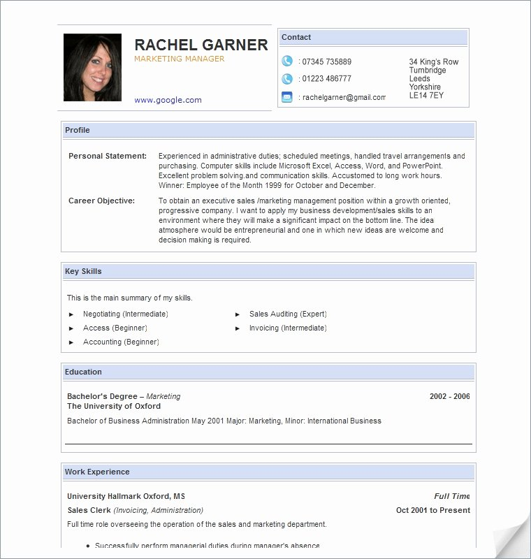 Curriculum Vitae Samples Free Download Curriculum Vitae