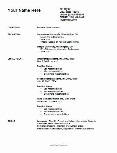 Curriculum Vitae Templates Free Printable