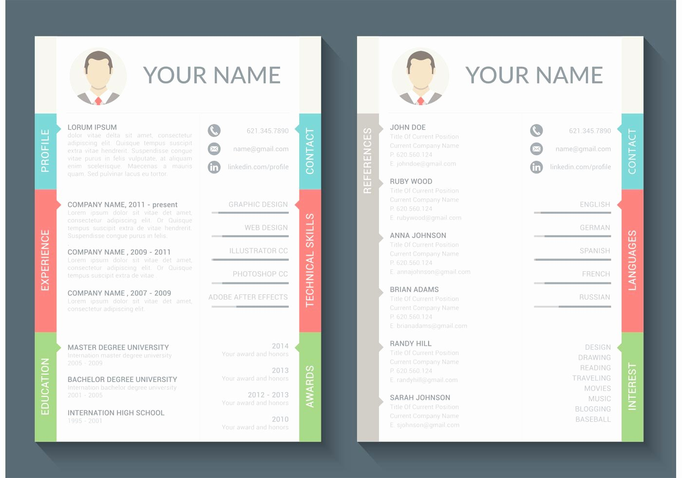 Curriculum Vitae Vector Template Download Free Vector