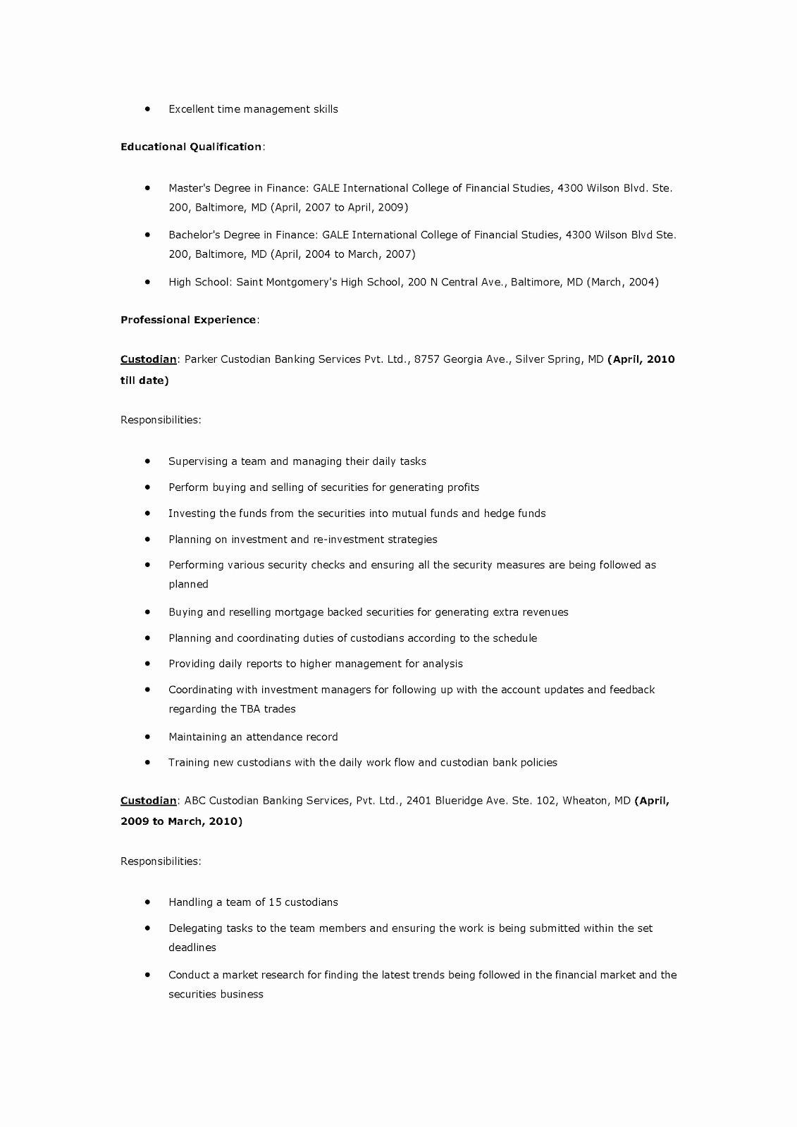 Custodian Job Description for Resume – Perfect Resume format