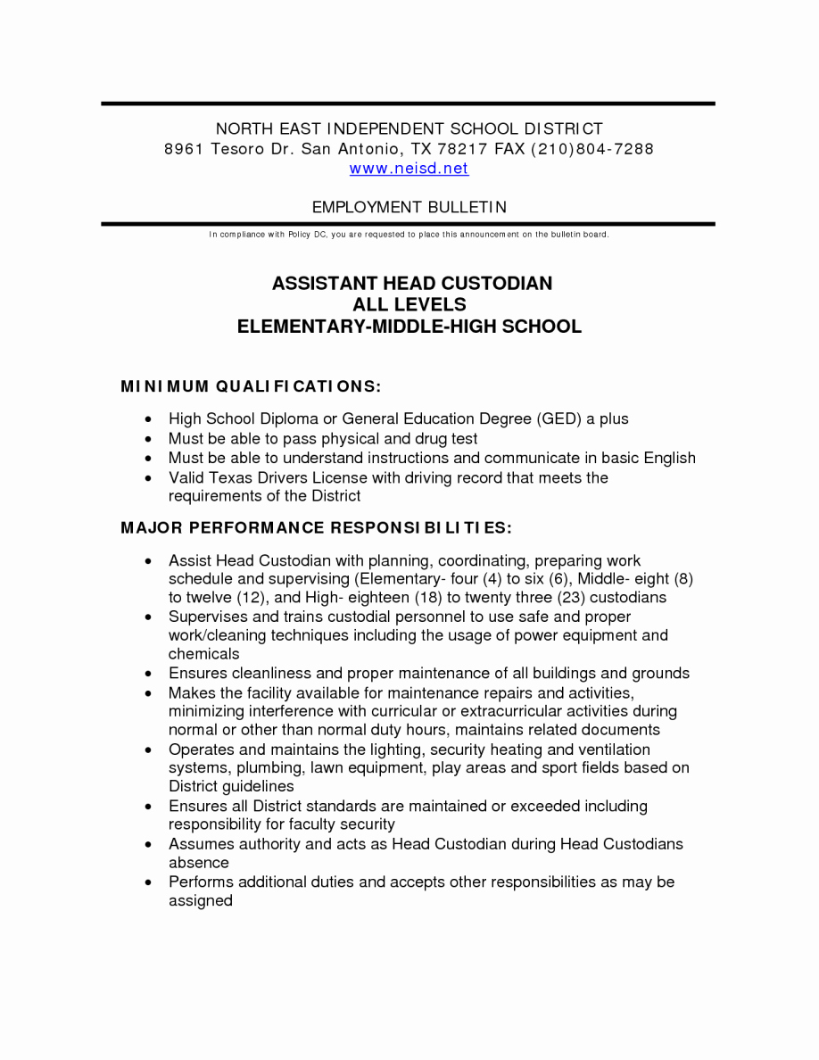 Custodian Job Description for Resume – Perfect Resume format