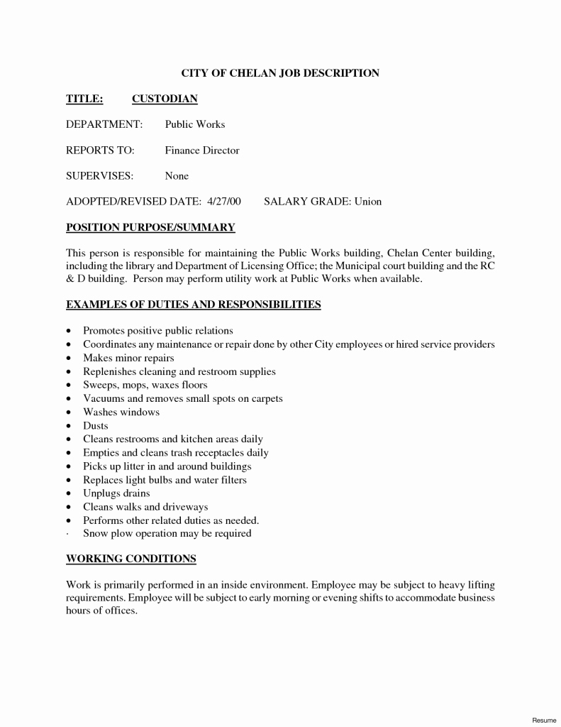 Custodian Resume Examples Sample