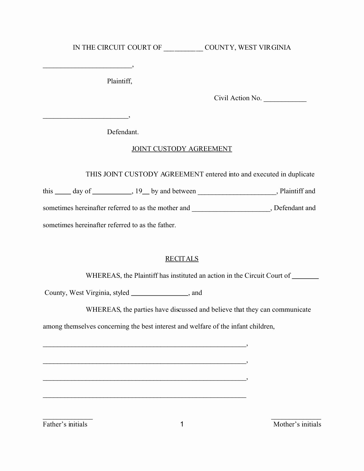 Custody Agreement Template Virginia Templates Resume