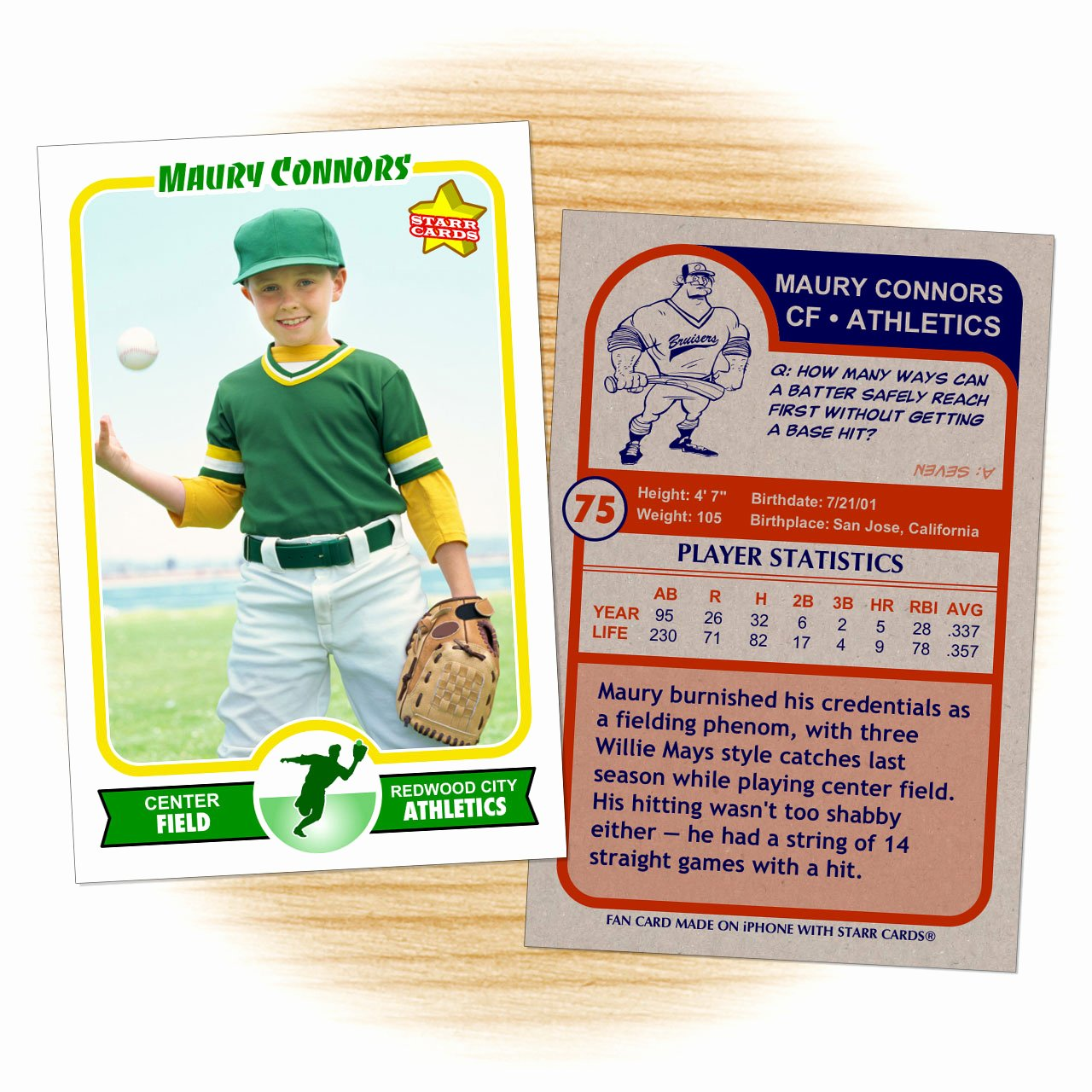Custom Baseball Cards Retro 75™ Series Starr Cards