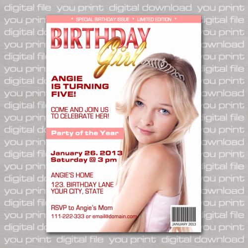 Custom Birthday Girl Magazine Cover Invitation You Print