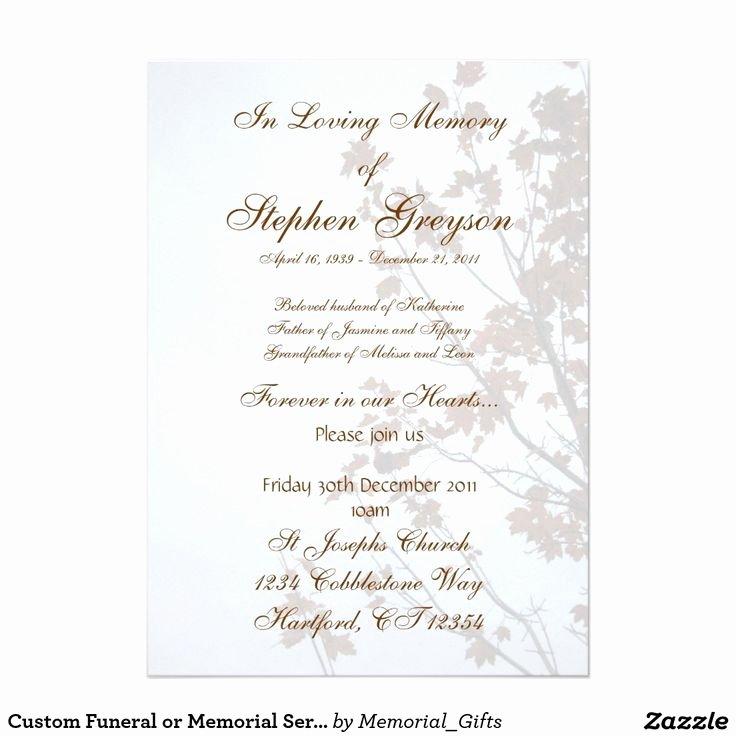 "Custom Funeral or Memorial Service Announcement 5"" X 7"
