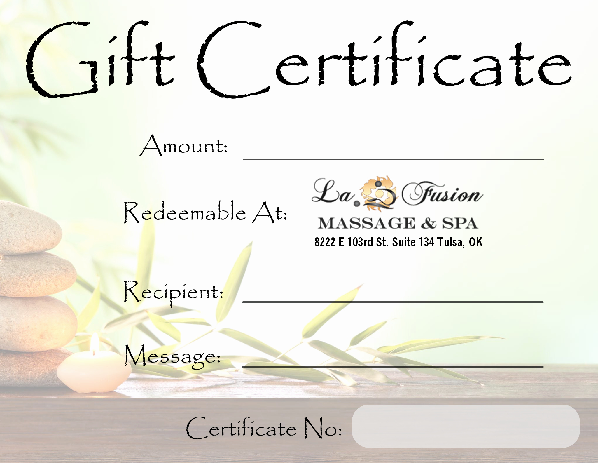 Custom Gift Certificates with Stub