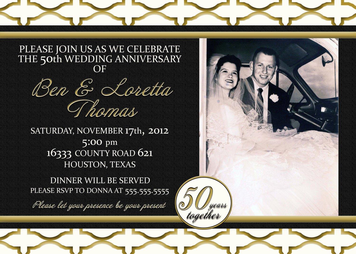 Custom Gold Black and Ivory 50th Anniversary Invitation