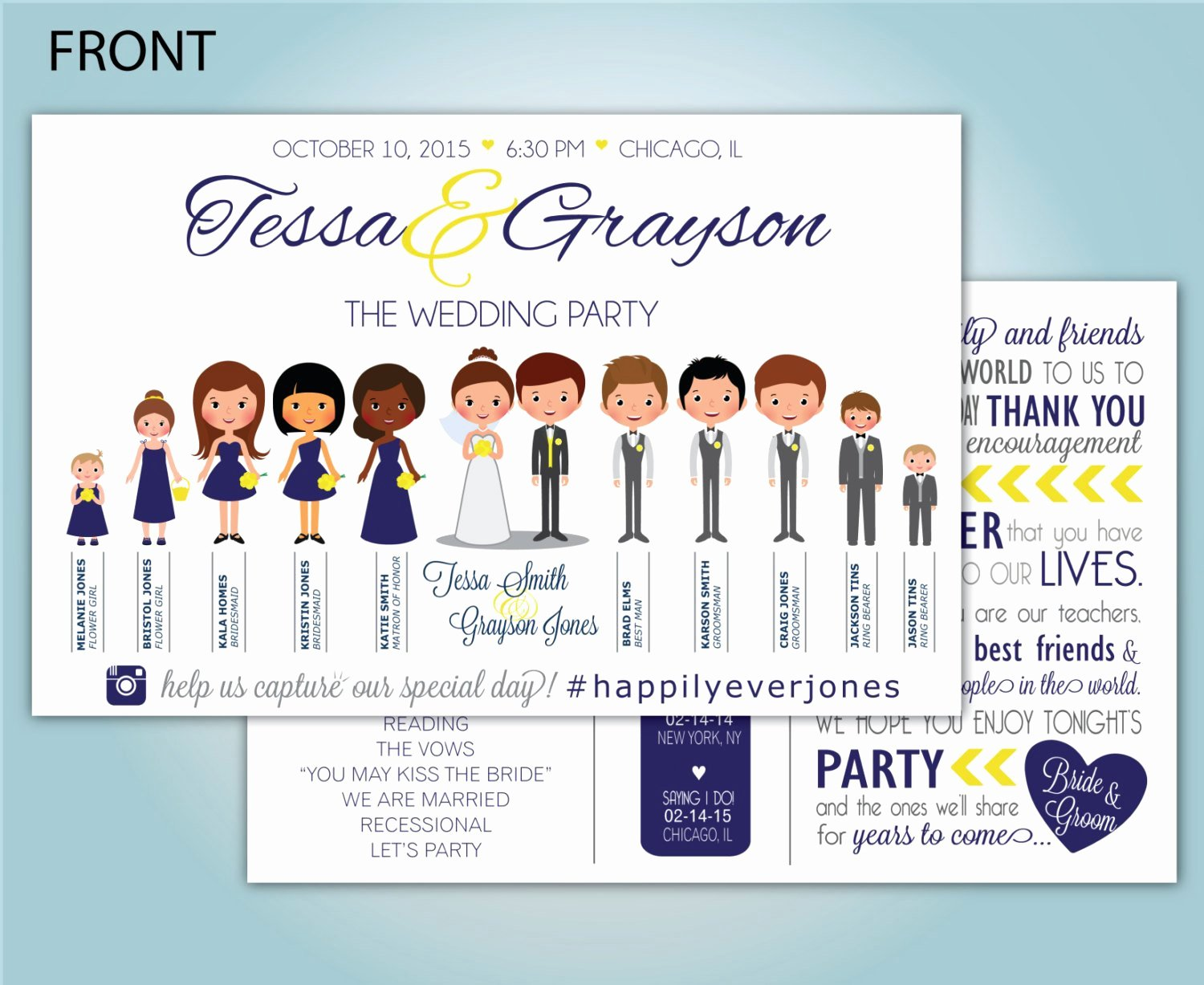 Custom People Wedding Program Illustrated Wedding Party
