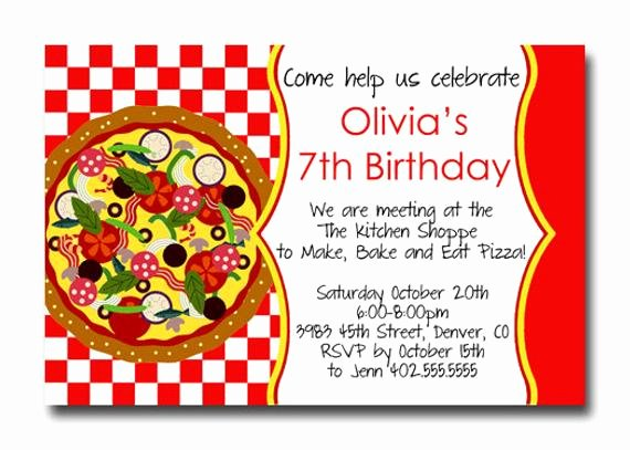 Custom Pizza Party Red Checker Birthday Party Invitation Card