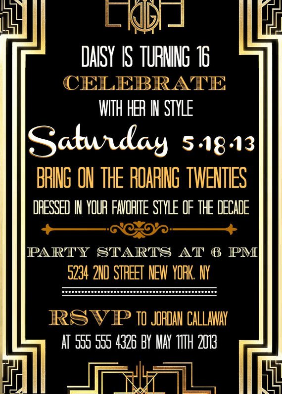 Custom Printable Great Gatsby Inspired Invitations