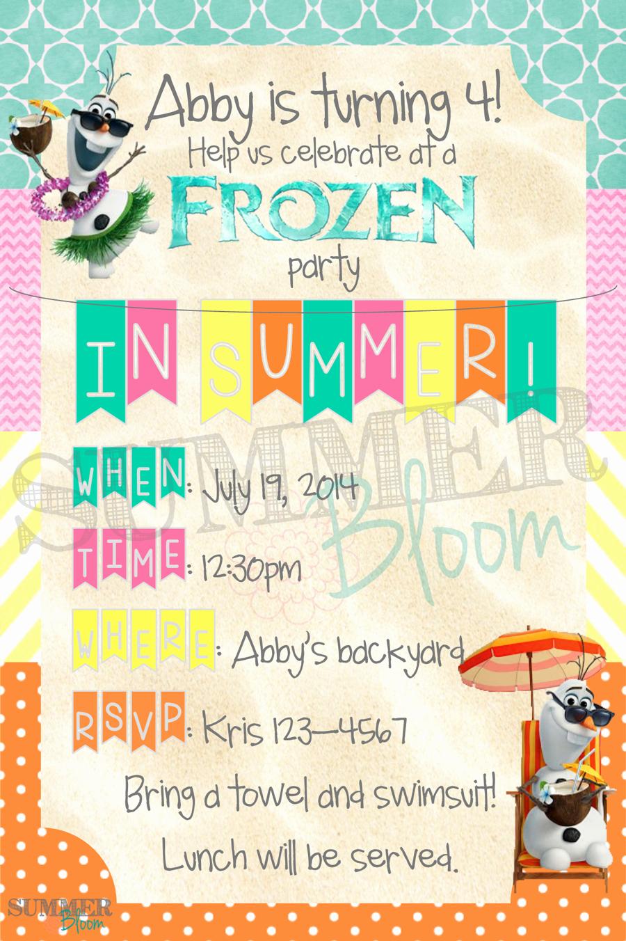 Custom Summer Lemon Pool Birthday Party Invitation