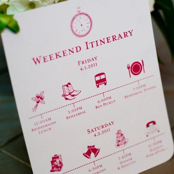 Custom Wedding Itinerary Card Wedding