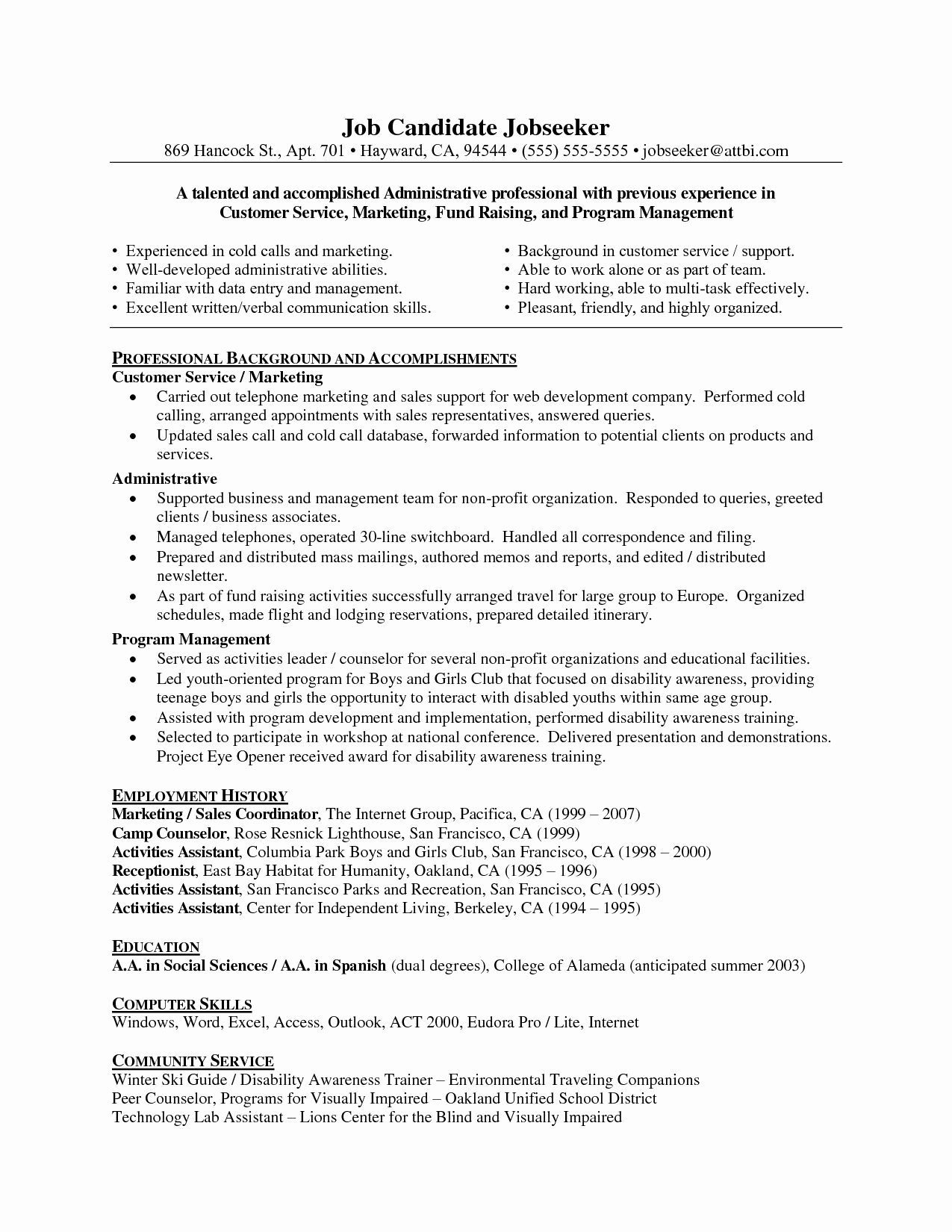 Customer Care assistant Resume